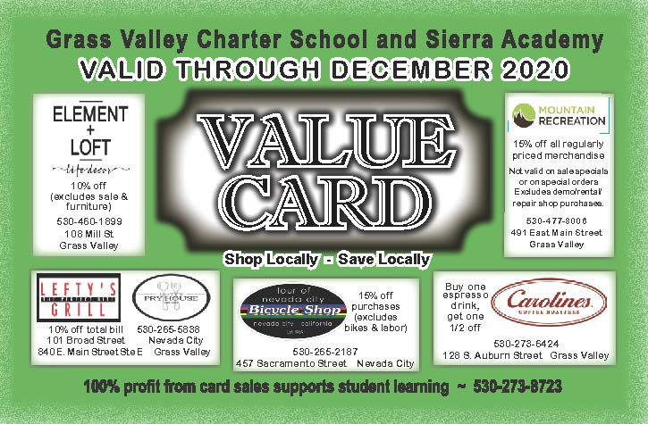 Front of 2020 Value Card